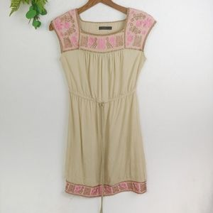 THML Tan and Pink Embroidered Boho Dress
